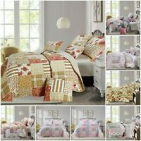 Quilted Patchwork Bedspread With Pillow Shams Reversible Quilt Vintage Bed Set