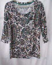 Nicole Miller Navy Blue Green & White Print 100% Cotton Blouse Top - Size XL