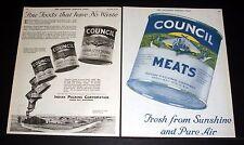 1919 OLD MAGAZINE PRINT AD, COUNCIL, VIENNA STYLE SAUSAGE, FINE FOOD & NO WASTE!