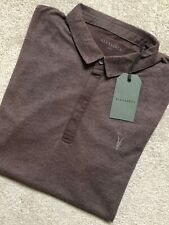 """ALL SAINTS OXBLOOD MARL RED """"BRACE"""" S/S LOGO POLO SHIRT TOP - XS & S - NEW TAGS"""