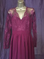 Elise Ryan Dress Size 8 Red Lace Fit & Flare Party Wedding Occasion Prom Races
