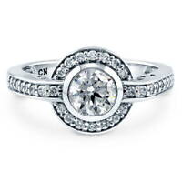 BERRICLE Sterling Silver Round Cubic Zirconia CZ Halo Engagement Ring 1.14 CTW