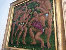 """RARE SUPERB ORIGINAL RICHARD WALLACE """"Vine Dance"""" Man Men Oil on Canvas PAINTING"""