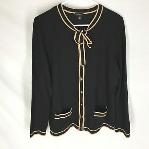 TALBOTS Cardigan Sweater Size Large Black Tie Neck and Brown Trim Womens