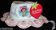 Girls STRAWBERRY SHORTCAKE Bucket Cap Hat NEW Born Infant NB White Sparkle