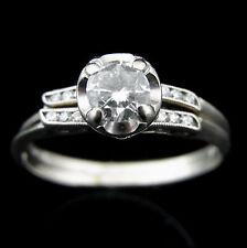 Vintage Diamonds 14k White Gold Engagement Ring Wedding Band Set Mid Century