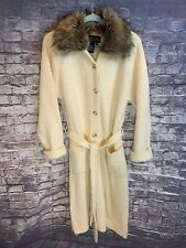 Vintage Terry Lewis Classic Luxuries Long Cream Wool Jacket Faux Fur Collar Med