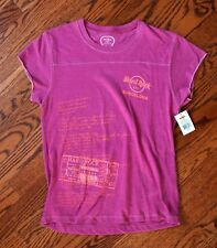 "NWT New Hard Rock Cafe Barcelona Raspberry Pink T-shirt Juniors L 33""-37"" Chest"