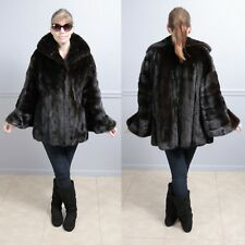 Fully Letout Black Diamond Directional Female Mink Fur Coat with Bell Cuffs L XL