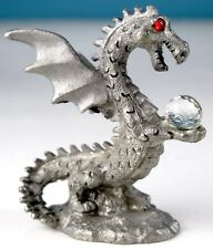 Pewter Dragon w Crystal Ball 1988 Vintage Spoontiques Miniature Medieval Fantasy