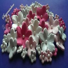 40 Edible Sugar flowers cake cupcake  toppers hot pink silver pink white