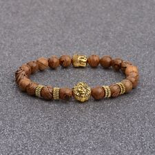Mens Natural Wooden Stone Silver Gold Lion Buddha Beaded Charm Bracelet Cheapest