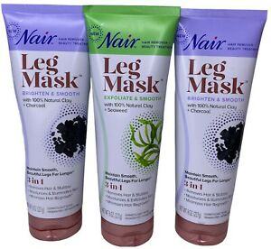 Nair Hair Remover + Beauty 3in1 Treatment Leg Mask, Natural Clay, 8 oz 3 pack