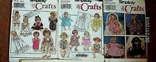 """Lot 4 Baby Doll Clothing Sewing Patterns - Uncut 12- 22""""-Carrier +"""