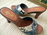 "Authentic Coach ""Carlie"" Denim, Snake Skin Patchwork Heel's. Size 10 M"