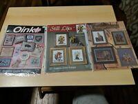 Lot of 3 Cross Stitch Leaflets Jeanette Crews Designs - Medieval Castles Oink +