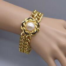Vintage Ivana Trump Faux Pearl And Enamel Link Bracelet