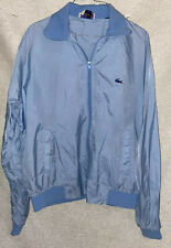 Izod Lacoste Vintage Baby Blue 80s Mens Windbreaker Jacket Full Zip XL