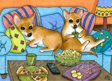 ACEO art print from art painting Dog 99 Chihuahua watching TV by L.Dumas