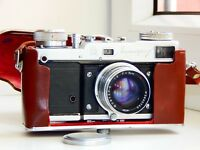 Rare LENINGRAD GOMZ RANGEFINDER Soviet Film Camera w/s lens Jupiter-8 AS IS