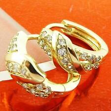 HOOP HUGGIE EARRINGS REAL 18K YELLOW G/F GOLD DIAMOND SIMULATED DESIGN FS3AN971