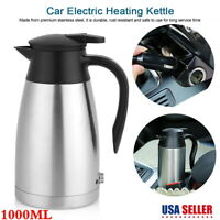 1L 24V Car Stainless Steel Electric Kettle Coffee Tea Thermos Water Heating Cup