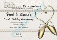 PERSONALISED SURPRISE PEARL WEDDING ANNIVERSARY PARTY INVITES Invitations