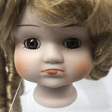 """Vintage Porcelain Doll Head Bust Child Sweet Pouting Girl 4"""" Wig Eyes Parts"""