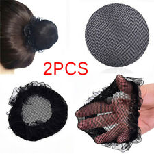 2PCs Women Ballet Dance Skating Snoods Hair Net Bun Cover Black Nylon MaterialEO