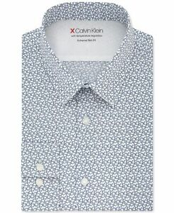 Calvin Klein Mens Dress Shirt Blue 15-15 1/2  Extreme Slim Fit Abstract $79 222