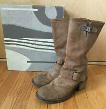 Fiorentini + Baker Mike engineer moto boots brown suede size 39 9 buckle zip