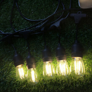 6.5m E27 Socket Warm White Mains Powered Outdoor Festoon String Lights Garden UK