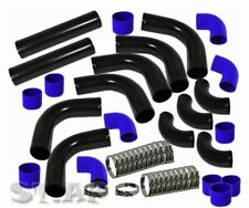 Universal  Turbo 3 Inch Aluminum Intercooler 12 Pcs Piping Pipe Kit Black/Blue