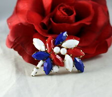 Vintage Red White Blue Usa Patriotic Gold tone Pin Brooch Cat Rescue