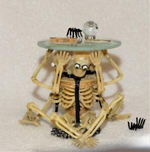 """Dollhouse Miniature Skeletons """"TABLE & GOODIES-Artist-OOAK-3 3/8"""" tall"""