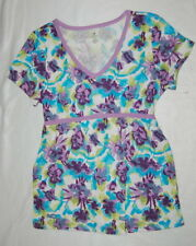Womens TUNIC TOP Tie Back Shirt TURQUOISE PURPLE LIME FLORAL PRINT V-Neck M 8-10