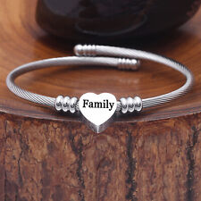 "7"" Mom Bangle Bracelet Women Stainless Steel Cuff from Daughter Mothers Day Gift"