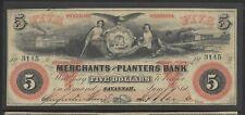 1860 $5 Dollar Merchants and Planters Bank of Savannah, Georgia. XF