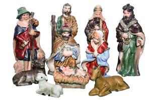 Krippen Set Weihnachtsdeko 10 tlg Figuren Set  Krippe Polyresin Krippenfiguren