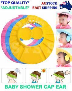 ADJUSTABLE BABY SHOWER CAP EAR COVER KIDS CHILDREN BATH SHIELD HAT WASH HAIR AUS