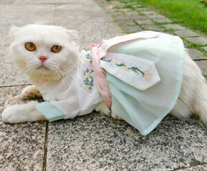 Chinese Ancient Style Pet Coat Embroidery Cat Tops Cosplay Dress Small Dogs Coat