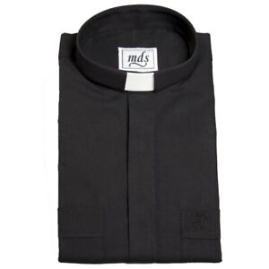 MDS Black Clergy/Clerical  Tunnel/Tab Shirt-Cotton Rich