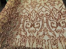 SWEETHEART Damask 4-Way Stretch Mesh Lace GOLD Tiny Sequin Fabric  56""