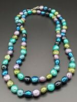 """Honora Pearls Rainbow Baroque Necklace Sterling Silver 36"""""""