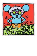 Keith Haring art postcard, Andy Mouse 1985 (05) - size 15x10 cm.
