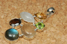 Anhänger mit Regenbogen-Mondstein Citrin Peridot Labradorit 925 Silber