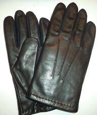 Aris Isotoner Mens Leather Gloves,Black, M/L