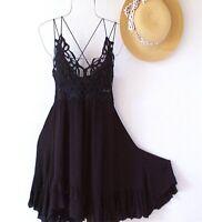 New~Free People~Black Crochet Lace Ruffle Adella Slip Boho Dress~Size Large L
