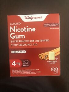 Walgreens Nicotine Gum  4 mg 100 count Cinnamon Flavor Exp 04/22