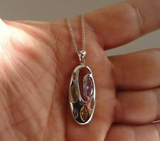 925 STERLING SILVER MULTI-COLOR PENDANT NECKLACE / SIZE 38MM BY 16MM
